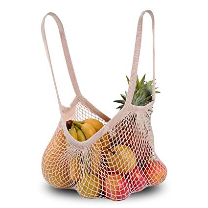 The Great Living Co. White Cotton Mesh Shopping Bag with long handles